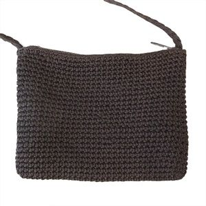 Chocolate Brown Knit Crossbody Purse, Small